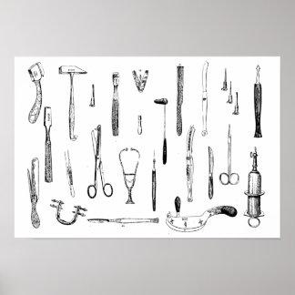 Instrumentos médicos antiguos póster