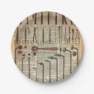 Instrumentos médicos del vintage plato de papel de 7 pulgadas