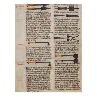 Instrumentos médicos medievales postales