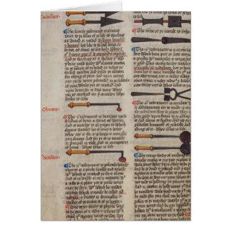 Instrumentos médicos medievales tarjeta de felicitación