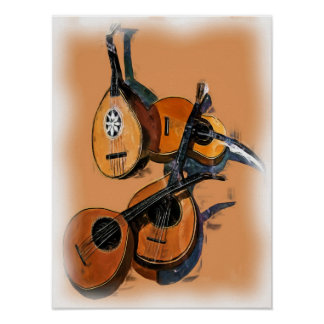 Instrumentos musicales atados en el aceite borde posters