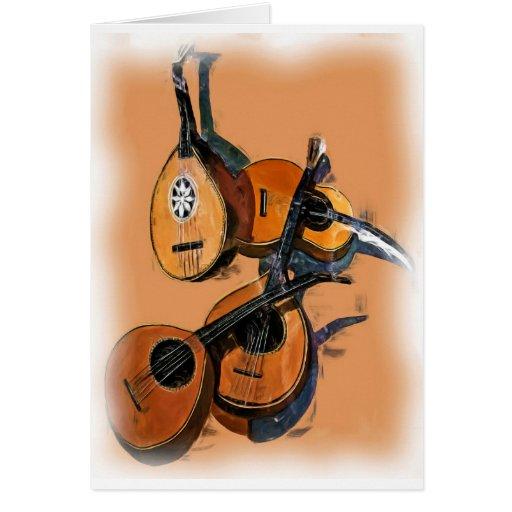 Instrumentos musicales atados en el aceite, borde  tarjetas