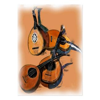 Instrumentos musicales atados en el aceite, borde tarjetas de visita grandes