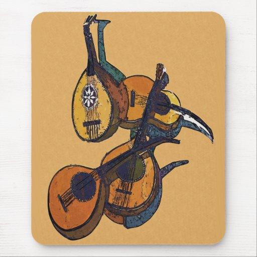 Instrumentos musicales atados tapete de ratones