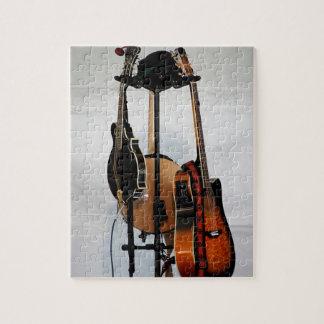 Instrumentos musicales de la guitarra rompecabezas con fotos