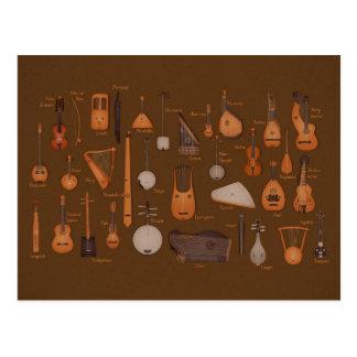 Instrumentos musicales de la secuencia postales