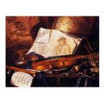 Instrumentos musicales que pintan los regalos postal