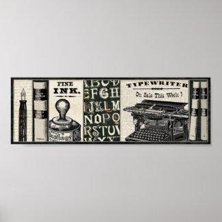 Instrumentos viejos de la escritura póster