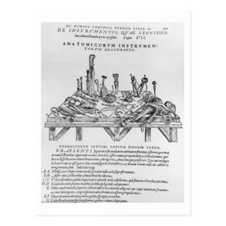 Instruments for Dissections, illustration from 'De Postcard