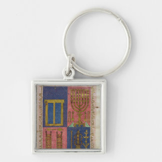 Instruments of the Temple Silver-Colored Square Keychain