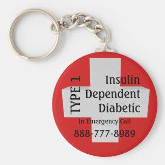 Insulin Dependent TYPE 1 Diabetes EMT Alert Keychain