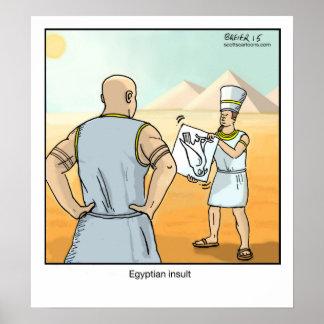 Insulto egipcio del cartel divertido del dibujo póster