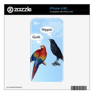 Insultos lindos divertidos del pájaro - gótico, Hi iPhone 4S Calcomanía