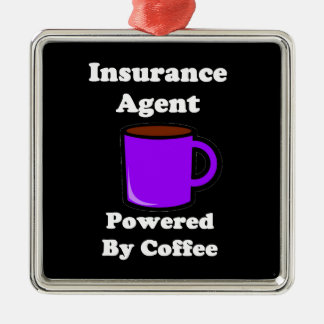 """Insurance Agent"" Powered by Coffee Metal Ornament"