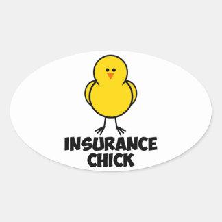 Insurance Chick Oval Sticker