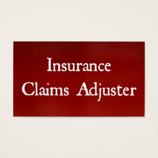 Insurance Claims Adjuster Bright Red Business Card