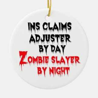 Insurance Claims Adjuster Zombie Slayer Double-Sided Ceramic Round Christmas Ornament