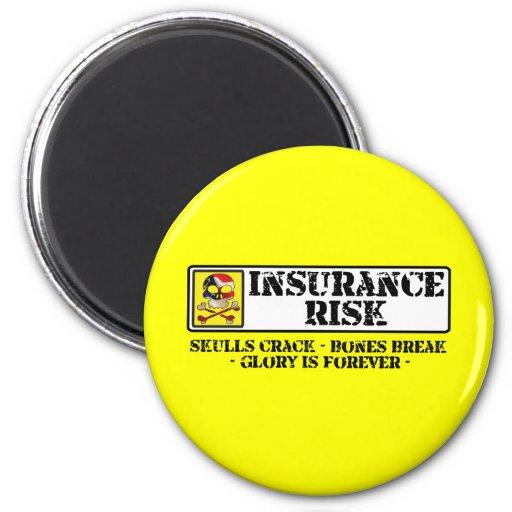 Insurance Risk - Skulls Crack - Bones Break 2 Inch Round Magnet