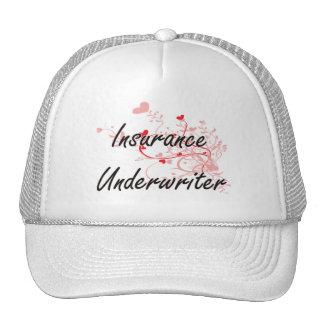 Insurance Underwriter Artistic Job Design with Hea Trucker Hat