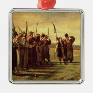 Insurrectionists polacos de la rebelión 1863 adorno navideño cuadrado de metal