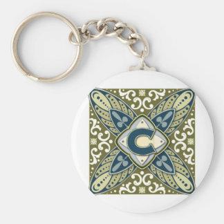Intaglio Letter C Basic Round Button Keychain