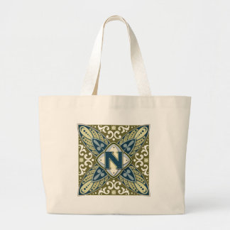 Intaglio Letter N Canvas Bags