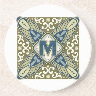 Intaglio Monogram Letter M Drink Coasters