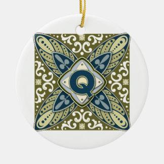 Intaglio Monogram Letter Q Ceramic Ornament