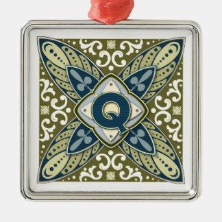 Intaglio Monogram Letter Q Metal Ornament