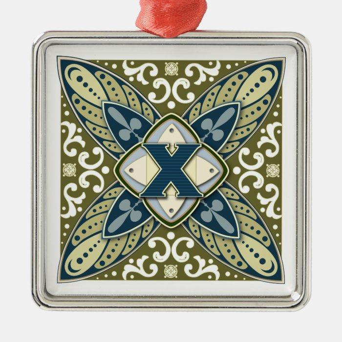 Intaglio Monogram Letter X Metal Ornament