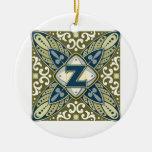 Intaglio Monogram Letter Z Ornament