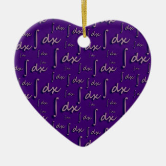 Integral Math Purple - Integral Mathematics Mulber Double-Sided Heart Ceramic Christmas Ornament