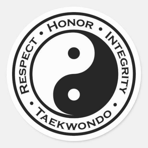 Integridad el Taekwondo del honor del respecto Pegatinas Redondas