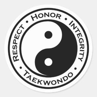 Integridad el Taekwondo del honor del respecto Pegatina Redonda