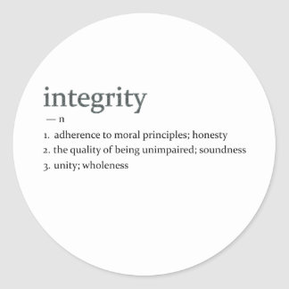 integrity classic round sticker