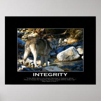 INTEGRITY Motivational Grey Wolf Art Print