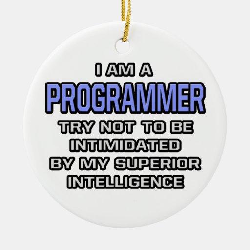 Inteligencia superior del chiste del programador… adorno redondo de cerámica
