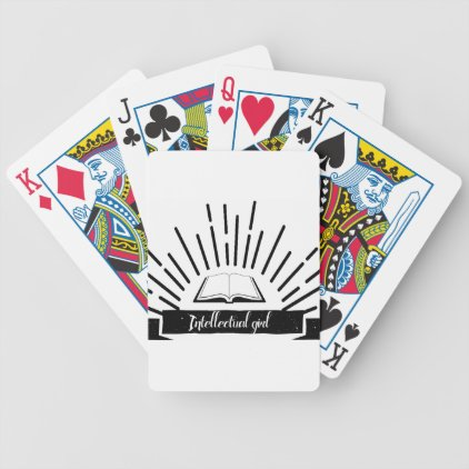Intellectual Girl Funny Nerd Slogan Print Bicycle Playing Cards
