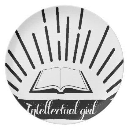 Intellectual Girl Funny Nerd Slogan Print Dinner Plate