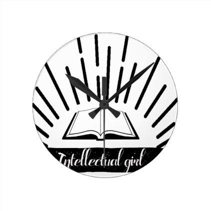 Intellectual Girl Funny Nerd Slogan Print Round Clock