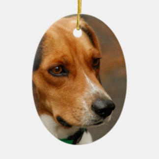 Intelligent Focussed Beagle Hunting Dog Double-Sided Oval Ceramic Christmas Ornament