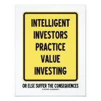 Intelligent Investors Practice Value Investing 4.25x5.5 Paper Invitation Card