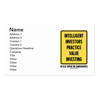 Intelligent Investors Practice Value Investing Business Card Templates