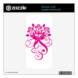 Intense and Beautiful Pink Roses iPhone 4S Decal