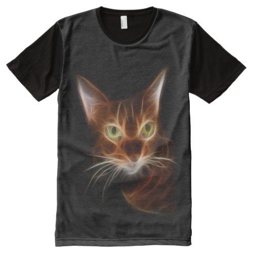 Intense Bengal Cat Fractal All-Over-Print T-Shirt