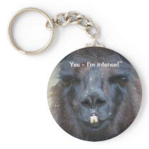 Intense Black Llama Funny Animal Keychain