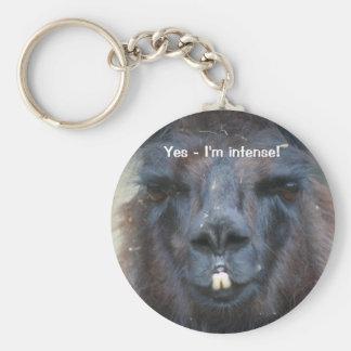 Intense Black Llama Funny Animal Keychain