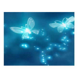 Intense Blue, Glitter and Butterflies Postcard