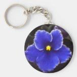 Intense Blue Violet Basic Round Button Keychain
