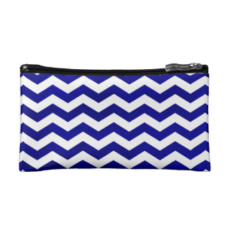 Intense Blue Watercolor Wash and White Chevron Bag Cosmetic Bag